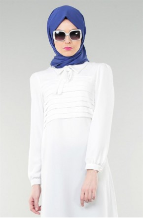 Nursima Sivri Yaka Tunik-Beyaz 813-02